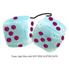 3 Inch Light Blue Fluffy Dice with HOT PINK GLITTER DOTS