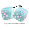 4 Inch Light Blue Plush Dice with LIGHT PINK GLITTER DOTS
