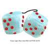 3 Inch Light Blue Fluffy Dice with RED GLITTER DOTS