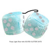 3 Inch Light Blue Fluffy Dice with SILVER GLITTER DOTS