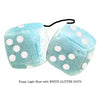 3 Inch Light Blue Fluffy Dice with WHITE GLITTER DOTS