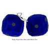4 Inch Royal Navy Blue Fuzzy Dice with Black Dots