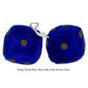 4 Inch Royal Navy Blue Fuzzy Dice with Dark Brown Dots