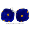 4 Inch Royal Navy Blue Fuzzy Dice with Light Brown Dots