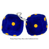 4 Inch Royal Navy Blue Fuzzy Dice with Goldenrod Dots