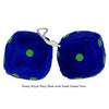 4 Inch Royal Navy Blue Fuzzy Dice with Dark Green Dots