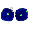 4 Inch Royal Navy Blue Fuzzy Dice with Lime Green Dots
