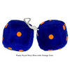 4 Inch Royal Navy Blue Fuzzy Dice with Orange Dots