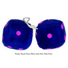 4 Inch Royal Navy Blue Fuzzy Dice with Hot Pink Dots