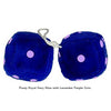 4 Inch Royal Navy Blue Fuzzy Dice with Lavender Purple Dots