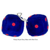4 Inch Royal Navy Blue Fuzzy Dice with Red Dots