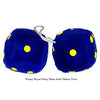 4 Inch Royal Navy Blue Fuzzy Dice with Yellow Dots