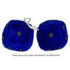 4 Inch Royal Navy Blue Fuzzy Dice with BLACK GLITTER DOTS