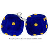 4 Inch Royal Navy Blue Fuzzy Dice with GOLD GLITTER DOTS