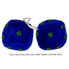 4 Inch Royal Navy Blue Fuzzy Dice with DARK GREEN GLITTER DOTS