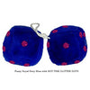 4 Inch Royal Navy Blue Fuzzy Dice with HOT PINK GLITTER DOTS