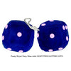 4 Inch Royal Navy Blue Fuzzy Dice with LIGHT PINK GLITTER DOTS