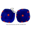 4 Inch Royal Navy Blue Fuzzy Dice with RED GLITTER DOTS