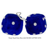 4 Inch Royal Navy Blue Fuzzy Dice with SILVER GLITTER DOTS