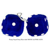 4 Inch Royal Navy Blue Fuzzy Dice with WHITE GLITTER DOTS