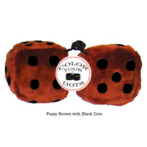 4 Inch Brown Fuzzy Dice with Black Dots