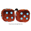 4 Inch Brown Fuzzy Dice with Light Blue Dots