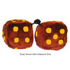 3 Inch Brown Furry Dice with Goldenrod Dots