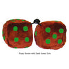3 Inch Brown Fuzzy Dice with Dark Green Dots