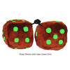 4 Inch Brown Fuzzy Dice with Lime Green Dots