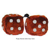 3 Inch Brown Furry Dice with Grey Dots