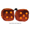 3 Inch Brown Furry Dice with Orange Dots