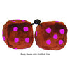 3 Inch Brown Fluffy Dice with Hot Pink Dots
