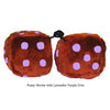 4 Inch Brown Fuzzy Dice with Lavender Purple Dots