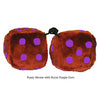 3 Inch Brown Plush Dice with Royal Purple Dots