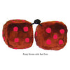 4 Inch Brown Fuzzy Dice with Red Dots