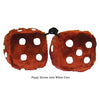 3 Inch Brown Fuzzy Dice with White Dots