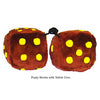 4 Inch Brown Fuzzy Dice with Yellow Dots