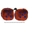 3 Inch Brown Furry Dice with ROYAL NAVY BLUE GLITTER DOTS