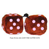4 Inch Brown Fuzzy Dice with LIGHT PINK GLITTER DOTS