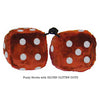 3 Inch Brown Furry Dice with SILVER GLITTER DOTS