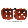 4 Inch Brown Fuzzy Dice with WHITE GLITTER DOTS