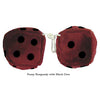 4 Inch Burgundy Fuzzy Dice with Black Dots