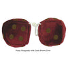 3 Inch Burgundy Fuzzy Dice with Dark Brown Dots