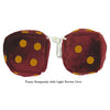 3 Inch Burgundy Fuzzy Dice with Light Brown Dots