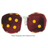 4 Inch Burgundy Fuzzy Dice with Goldenrod Dots