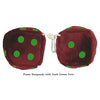 4 Inch Burgundy Fuzzy Dice with Dark Green Dots