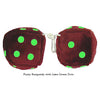 3 Inch Burgundy Fuzzy Dice with Lime Green Dots