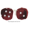 3 Inch Burgundy Fuzzy Dice with Grey Dots