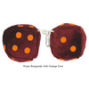 3 Inch Burgundy Fuzzy Dice with Orange Dots