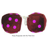 3 Inch Burgundy Fuzzy Dice with Hot Pink Dots